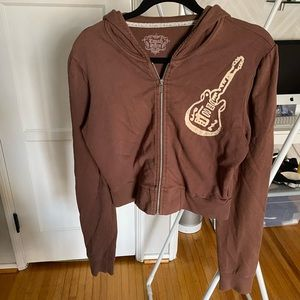 CRASH & BURN Guitar Cropped Hoodie, Size L
